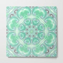 Turquoise Fractal Kaleidoscope Metal Print