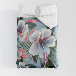 Hawaii, tropical hibiscus vintage style blue dream palm leaves Duvet Cover