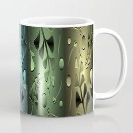 Bronze patterns metallic green plants red grass blossoms shimmering vintage. Coffee Mug