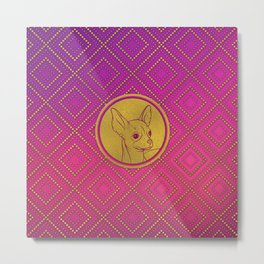 Golden Embossed Chihuahua on pink /purple Metal Print