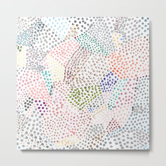 Mermaid Rainbow Dots Colorful Abstract Gems Metal Print