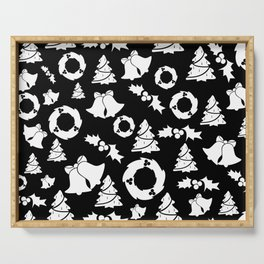 Classic Christmas in Black and White Serving Tray
