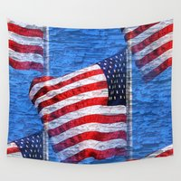american flag Wall Tapestries featuring Vintage American Flag  by Judy Palkimas