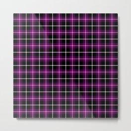 Purple and Black Tartan Metal Print