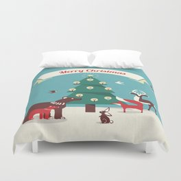 Christmas Animals and Christmas Tree Duvet Cover