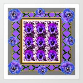PURPLE & BLUE SPRING PANSIES  GARDEN  PATTERN Art Print