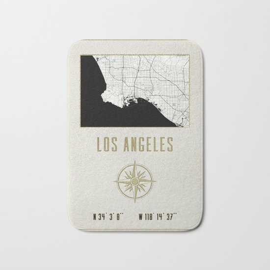 Los Angeles - Vintage Map and Location Bath Mat