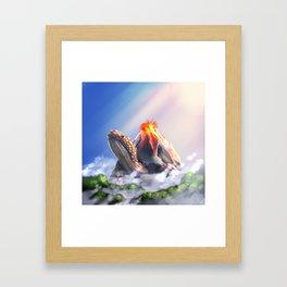 Volcano turtle Framed Art Print