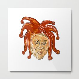 Court Jester Head Drawing Metal Print