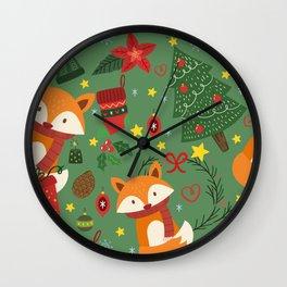 Foxy Christmas! Wall Clock