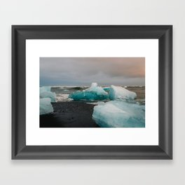 Sunset at the Glacier Lagoon in Iceland Framed Art Print