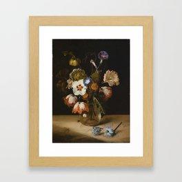 Dirck de Bray - Flowers in a Glass Vase Framed Art Print