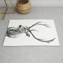 Deer Print, Black and white photo print Rug