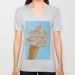 Summer ice cream with rainbow sprinkles Unisex V-Neck