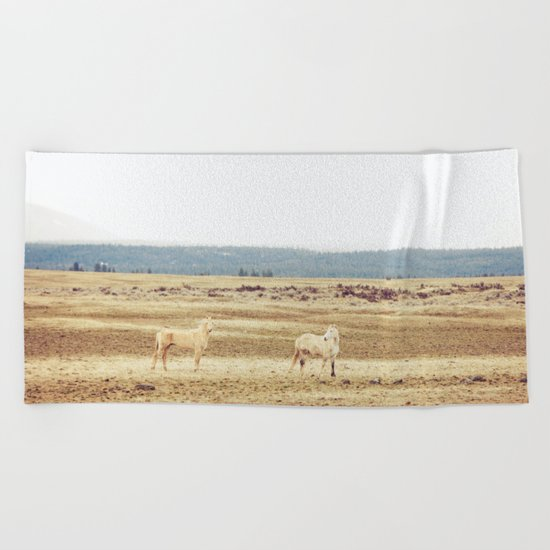 Two Oregon Horses Beach Towel