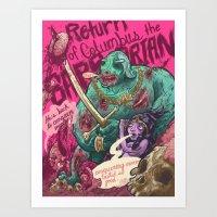 Columbus The Zombie Barbarian Art Print