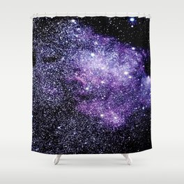 Galaxy Stars Violet Blue Shower Curtain