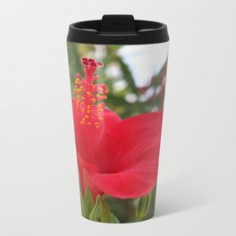 Soft Red Hibiscus With Natural Garden Background Travel Mug