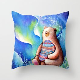Spirit Bear Tribal Print Throw Pillow