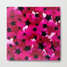 Punk Rock Stars Pink Metal Print