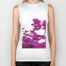LILAC PURPLE BOUGAINVILLEA VINES CLIMBING ON WHITE Biker Tank