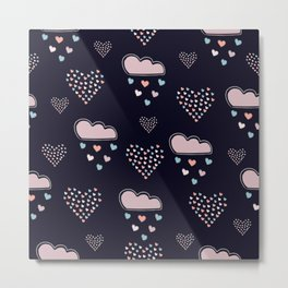 Hearts and Clouds Metal Print