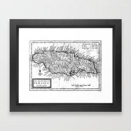 Vintage Map of Jamaica (1771) BW Framed Art Print