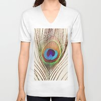 peacock V-neck T-shirts featuring Peacock by Laura Ruth