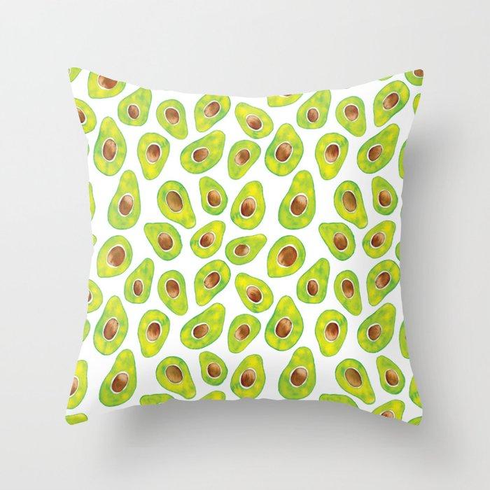 Watercolour Avocados Throw Pillow