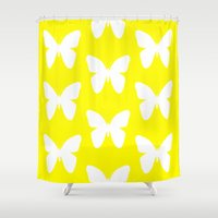 butterfly Shower Curtains featuring Butterfly by Naked N Pieces