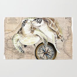 Sea Turtles Compass Map Rug