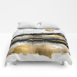 Golden Spring Moon Comforters