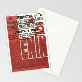 Russia, URSS Vintage Poster, Lenin, Newspaper Stationery Cards