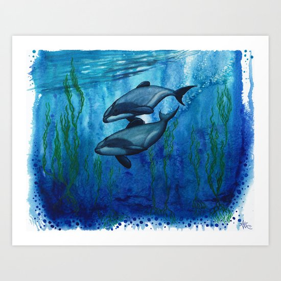 """""""Maui's Magic"""" by Amber Marine ~ (Maui's Dolphins) Watercolor Painting, (c) 2016 Art Print"""
