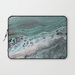 Teal Flow Abstract Acrylic Painting Laptop Sleeve