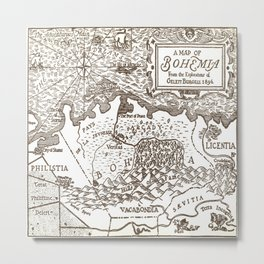 Map of Bohemia Metal Print