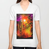 romance V-neck T-shirts featuring Lighthouse romance by Walter Zettl
