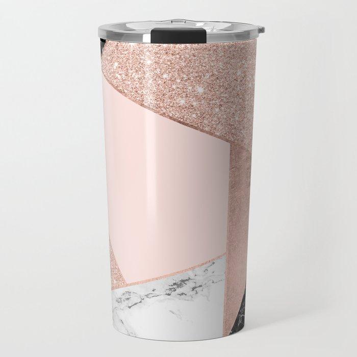 Modern rose gold glitter black white marble geometric color block Travel Mug