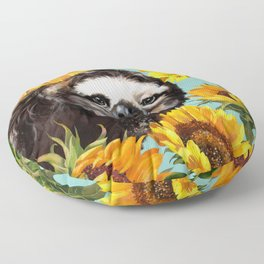 Sloth with Sunflowers Floor Pillow