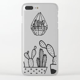 Cactus Garden Black and White Clear iPhone Case