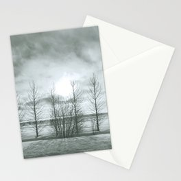 Iceland travel photography- Trees naked in the winter cold -Nature photography Stationery Cards