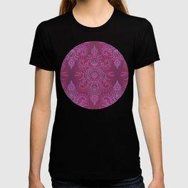 Magenta, Pink & Coral Protea Doodle Pattern T-shirt