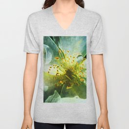 Yellow Rose Center with smokey overlay by CheyAnne Sexton Unisex V-Neck