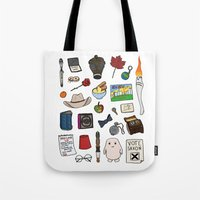 doctor who Tote Bags featuring Doctor Who by Shanti Draws