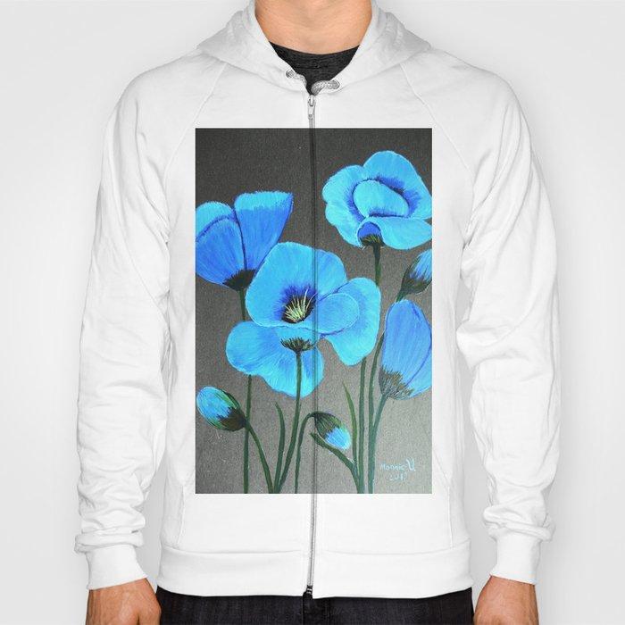 Blue poppies  Hoody