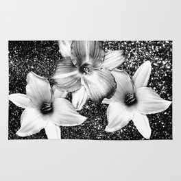 White Lilies on Black Glitter #1 #floral #decor #art #society6 Rug