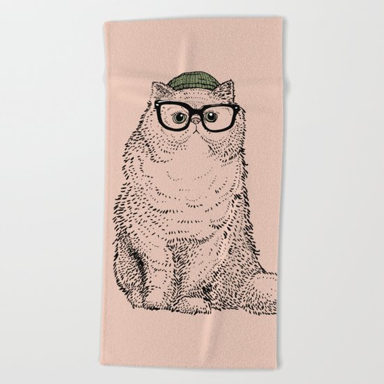 Hipster Persian Cat Beach Towel