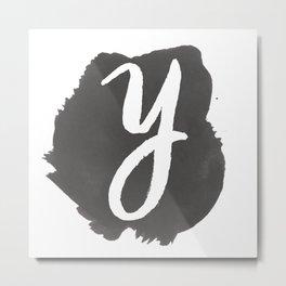 """Y"" Monogram, Watercolor Design Metal Print"