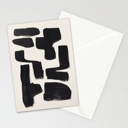 Mid Century Modern Minimalist Abstract Art Brush Strokes Black & White Ink Art Shapes Stationery Cards