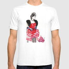 Can Can Dancer MEDIUM White Mens Fitted Tee